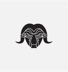 Angry goat face silhouette logo design vintage vector