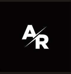 Ar logo letter monogram slash with modern logo vector