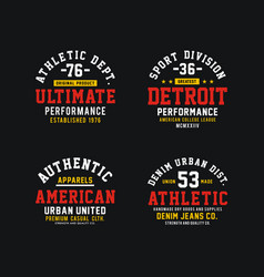 athletics set design t-shirt graphic vector image