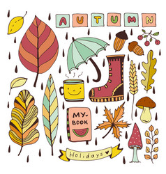 Autumn doodles isolated elements for stickers or vector