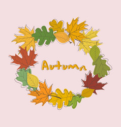 Autumn frame background wreath of autumn leaves vector