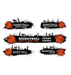 Basketball team match sport league grungy banner vector