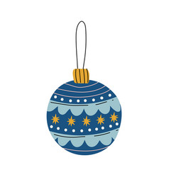 Blue bauble ball traditional christmas decoration vector