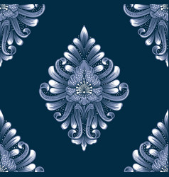 blue damask seamless pattern element vector image