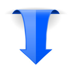 Blue down arrow web 3d icon vector