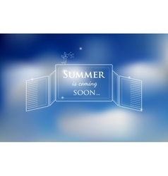 Blured background with sky and text about summer vector
