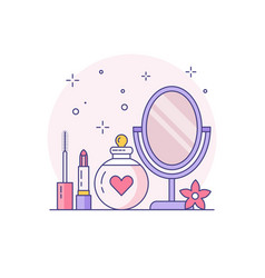 Bridal makeup kit linear line art icon vector