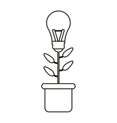 Bulb idea plant pot ecology outline vector