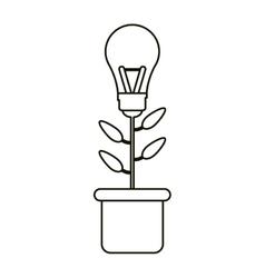 bulb idea plant pot ecology outline vector image