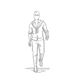 Businessman silhouette walking forward sketch vector