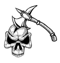 Cartoon image of axe in skull vector