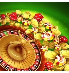 Casino background with chips craps and roulette vector
