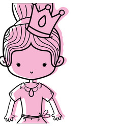 Color girl dancing ballet with bun hair with crown vector