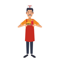 Cooker holding burger and soda vector