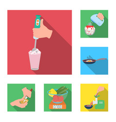 cooking food flat icons in set collection for vector image