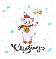 Cute merry christmas winter card with pig in hat vector