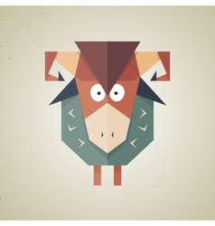 Cute origami sheep from folded paper vector