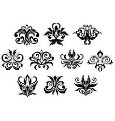 Decorative black gothic flowers set vector image
