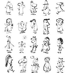 Doodle people set vector