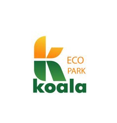Eco zoo park concept letter k icon vector