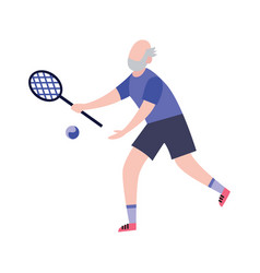 elderly man playing tennis cartoon character flat vector image