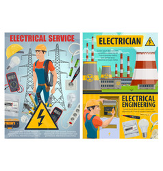 electrician electrcal tools wire light bulbs vector image
