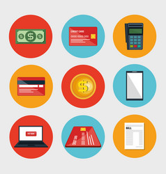 Electronic commerce set icons vector