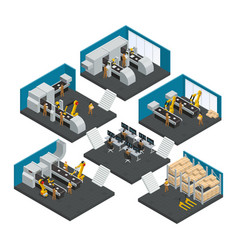 Electronics factory isometric multistory vector