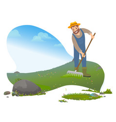 Farming man using rakes male working on farm vector
