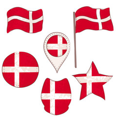 flag of the denmark performed in defferent shapes vector image