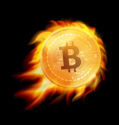 flaming bitcoin gold coin symbol burning bitcoin vector image