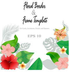 floral border and frame background template vector image