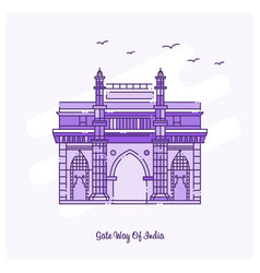 Gate way of india landmark purple dotted line vector