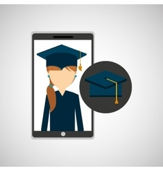 Girl app education online graduation school vector