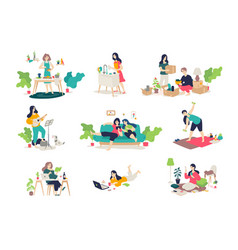 girls and boys engaged in household chores young vector image