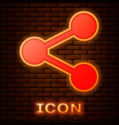 Glowing neon share icon isolated on brick wall vector