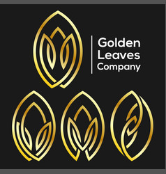 golden leaves from line logo vector image