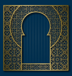 Golden patterned frame in oriental arched window vector