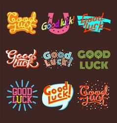 Good luck text farewell lettering vector