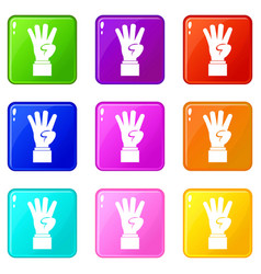 Hand showing number four icons 9 set vector