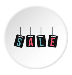 Hanging sale tags icon circle vector