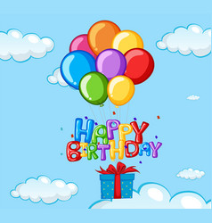 Happy birthday card with balloons and present vector