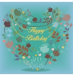 Happy birthday card with floral heart vector image vector image
