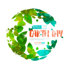 Happy earth day earth globe with green vector