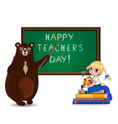 Happy teachers day greeting card with cartoon vector