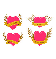 heart pink gold ribbon banner floral wreath vector image