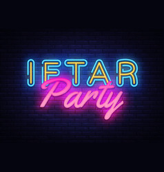 iftar party invitation card neon design vector image
