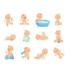 Infant newborn baby big set in different activity vector