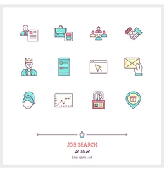 Job Search Line Icons Set vector image