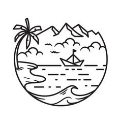 Line art beach wave palm boat sea doodle logo tem vector
